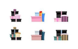 Luxury shopping boxes objects set