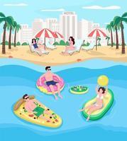 People resting at seaside resort flat color vector illustration