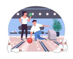 Couple in bowling alley 2D vector web banner, poster