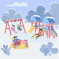 Winter playground flat color vector illustration