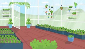 Greenhouse flat color vector illustration