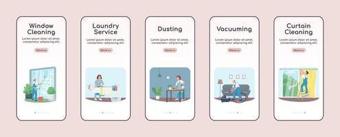 plantilla de vector plano de pantalla de aplicación móvil de incorporación de servicios de limpieza