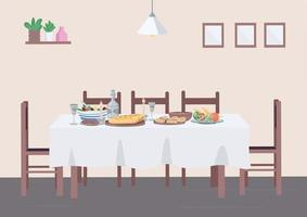 Traditional dinner at home flat color vector illustration