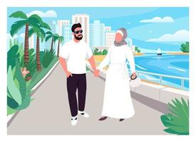 Muslim family vacation flat color vector illustration