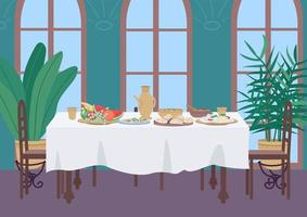Indian dinner at home flat color vector illustration
