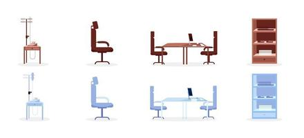Hospital furniture flat objects set vector