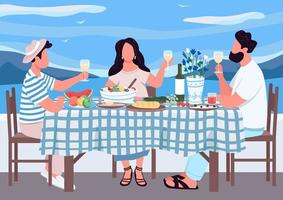 Greek holiday for friends flat color vector illustration