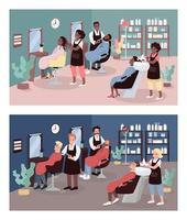 Hairdressers flat color vector illustration set