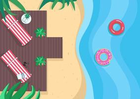 Beach vacations flat color vector illustration