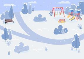 Winter park flat color vector illustration