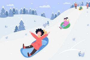 Children on sleds semi flat vector illustration