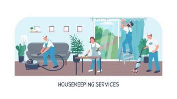 plantilla de vector plano de banner de servicios de limpieza