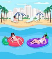 Pregnant women resting at beach flat color vector illustration
