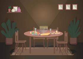 Dinner for hanukkah flat color vector illustration