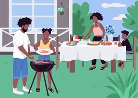 African family barbeque flat color vector illustration
