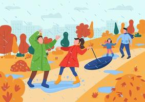 Kids play in rain semi flat vector illustration