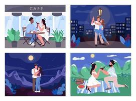 Romantic activity flat color vector illustration set