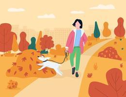 Woman walk with dog semi flat vector illustration