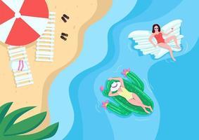 Women resting at sandy beach flat color vector illustration