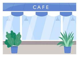 Cafe exterior flat color vector illustration