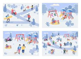 Winter recreation area flat color vector illustration set