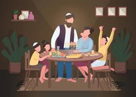 Hanukkah flat color vector illustration