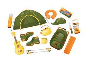 conjunto de objetos vectoriales de color plano de equipo de camping
