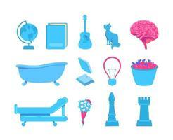 External stimuli of brain activity flat color vector object set