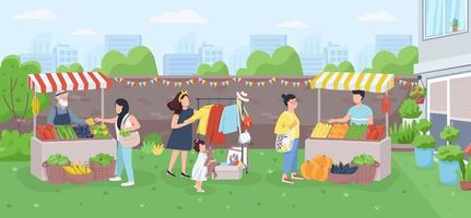 Urban farmer market flat color vector illustration