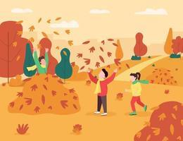 Children play in leaves pile semi flat vector illustration