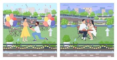 Romantic couple dates flat color vector illustration set