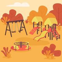 Autumn play area flat color vector illustration