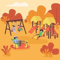 Autumn playground flat color vector illustration