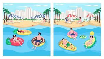 People floating on inflatables flat color vector illustration set