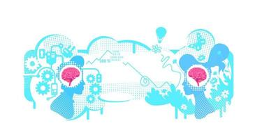 Creative and technical thinking flat concept vector illustration