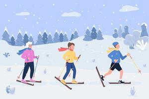 Winter skiing semi flat vector illustration