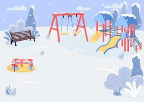 Playground in winter flat color vector illustration