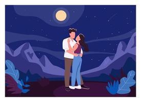 Midnight romantic date flat color vector illustration