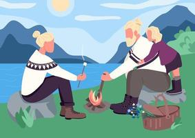 Nordic family picnic flat color vector illustration