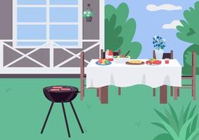Ilustración de vector de color plano de barbacoa de patio de casa