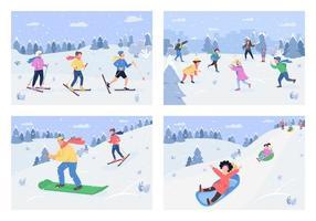 conjunto de ilustración de vector semi plano de actividad de invierno
