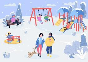 Winter playpark with visitors flat color vector illustration