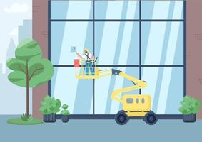 Building windows cleaning flat color vector illustration