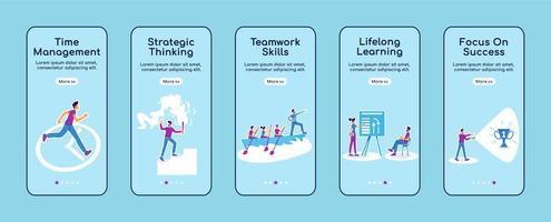 Career coaching onboarding mobile app screen flat vector template