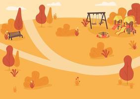 Autumn park zone flat color vector illustration