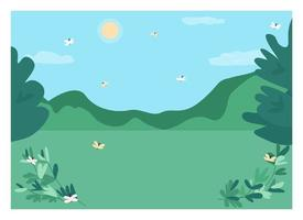 Daytime forest clearing flat color vector illustration