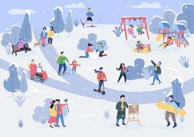 Rest in winter park flat color vector illustration