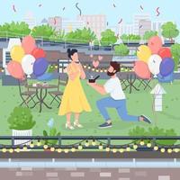 Surprise marriage proposal flat color vector illustration