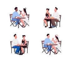 Couples sit at table flat color vector faceless character set