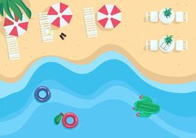 Seaside resort flat color vector illustration